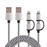 1m de nylon aislado 2 en 1 de carga y sincronización de cable USB para iPhone, Samsung, iPad