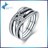Anel Twisted da jóia da indicação da estrela da prata esterlina de anel de casamento 925 da coleção da mola
