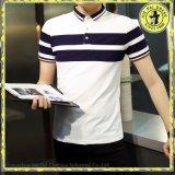 Maglietta barrata 100% della maglietta della maglietta del cotone degli uomini all'ingrosso del risvolto di polo degli uomini Short-Sleeved della camicia