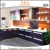 Panneaux de particules modulaire moderne noir plat des armoires de cuisine