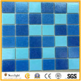 Piscina Azul/Branco Mosaico de vidro em mosaico lado a lado na parede
