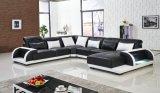 Grande sofá de couro de canto com luz do diodo emissor de luz para o sofá secional da sala de visitas, sofá moderno