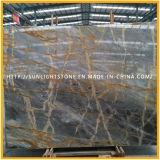 Polido Natural Itália Laje de mármore de pedra dourada / azul para a bancada