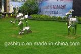 Statue abstraite des cerfs-mâts en métal, ornement de sculpture en acier inoxydable en plein air