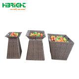 表示のためのプラスチックによって編まれる灰色の柳細工の洗濯物入れを保存しなさい