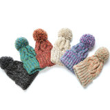 Espessura de inverno Senhora Moda Chapéus de tricotar com pompom party Beanies