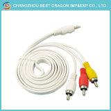 3RCA 3 Kabel-zum Audiovideokabel-Mann RCA-Handels zum Mann 1.8m