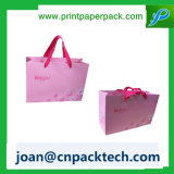 Gift Shopping Cmyk Printing Ribbon Handle Kraft Paper Bag