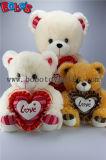 Novo Dom Produto urso de pelúcia adorável bege brinquedo com coração vermelho travesseiro