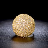 Última moda Fshion CZ Oro Amarillo de señoras de latón Anillo de Boda