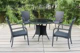 庭の屋外の藤の家具のダイニングテーブル4の椅子(FS-2055+ FS-2057)