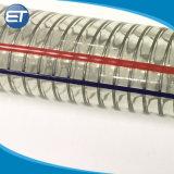 O PVC flexível de borracha reforçado de arame de aço em espiral / tubo de PVC Transparet