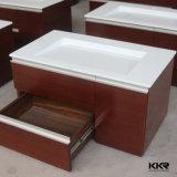 Bacia de lavagem de pedra de superfície contínua acrílica do gabinete de banheiro