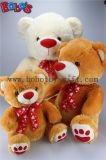 """presente enchido dia do urso de 12 """" Valentim bege com o descanso vermelho da fita e do coração"""
