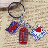 Cadeau fait sur commande Keychain de souvenir en métal de logo de promotion britannique de modèle