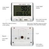 No interior da fábrica humidade temperatura LCD digital eletrônica termómetro com relógio de alarme de tempo