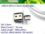 Schnelles Ladung-Kabel, Typ c-Kabel für Xiaomi 5X, Mi6, Mischung, Mix2, Note3
