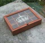ガラスふたが付いているRetroingのマツ木箱の木の茶ボックス