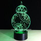 De in het groot 3D Lichte Lamp AcrylStar Wars BB-8 van de Nacht de Decoratie van het Huis van de Originaliteit van de Gift