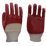 PVC Cotted работы фабрики Китая перчатки профессионального половинного красные/голубые