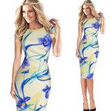 نساء فصل صيف خاصّ بالأزهار يطبع زهرة عرضيّ [تثنيك] [بودكن] ثوب مكتب ثوب