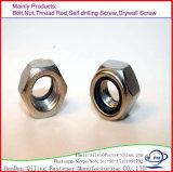 Galvanizado de alta precisión tuercas Nylock DIN982/985/Nylon tuercas/Tuercas Hexagonales/Nylon tuercas hexagonales
