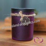 Bereiftes Glas-duftende Sojabohnenöl-Kerzen mit Weinlese-hölzernen Deckel-Geschenk-Kerzen