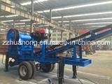Diesel van Huahong de Mobiele Maalmachine van de Kaak, de Wiel Opgezette Maalmachine van de Kaak van de Dieselmotor Mobiele