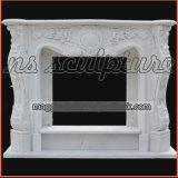 Ornamentada lareira em mármore branco/ Surround Mantel francês MF1708