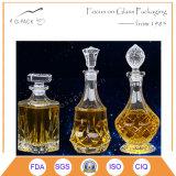 frasco de vinho de vidro gravado teste padrão do diamante 620ml com selo de vidro da cortiça