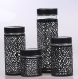 Vaso di vetro della scatola metallica di memoria di uso della cucina con il rivestimento di metallo