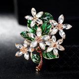 도매 형식 합금 사기질 녹색 꽃 브로치 Pin 보석