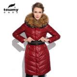 Élégant de style occidental Slim réel Simple Racoon Femmes Fourrure Down Jacket