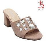 Bloque de mulas de cristal de zapatillas de tacón Zapato Abierto sandalias de mujer (MU203)