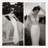 Funda con cuello en V Floor-Length Cordón apliques de lentejuelas gasa vestido de novia 2014