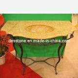 Granito chino G682 de color amarillo dorado y el óxido de piedra con cuarto de baño Vanite Top, fregadero, azulejos, encimera