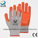 Перчатки белой безопасности латекса вкладыша хлопка померанцовой Coated работая (L007)