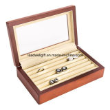 Коробка деревянного Cufflink упаковывая с ясной верхней коробкой подарка окна