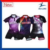 Heaongよいデザイン工場価格の服装のSublimatiomの女性卓球ジャージー
