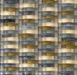 Tiras dobladas mosaico de vidrio y piedra mosaico de mármol beige (M855029)