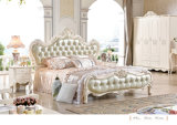 French Luxury Baroque Style Canopy Conjunto De Quarto / European Wooden Carving Kind Size Bed (6019)