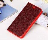Caisse par la carte de crédit en cuir brillante de téléphone de pochette de fente d'unité centrale de scintillement