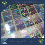 Autocolante com holograma de impressão holográfica na cor prata