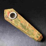 Tubulação de fumo material natural de fumo da tubulação da mão de Unakite da tubulação da mão