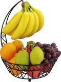 Cesta de fruta baixa redonda do metal de Kd com gancho da banana