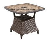 Tableau en aluminium extérieur/de jardin/patio Rattan& avec le dessus de table de marbre HS7616dt