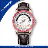 ジルコンの石造りの水晶斜面24hの世界の時間水晶防水腕時計