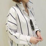 衣類の女性偶然の方法ポロのストライプのシャツ