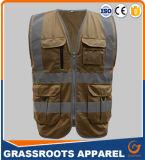 Chaleco Pocket multi del Workwear del alto de la visibilidad del poliester 100 chaleco reflexivo de la seguridad