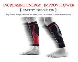 Calcetines de ciclo de la compresión del deporte del negro de la marca de fábrica de los hombres de los calentadores de la pierna que funcionan con a protectores de espinilla de la protección de la pierna del fútbol de Espinilleras Futbol